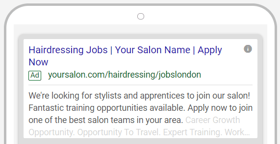 Hair Salon Google Ads example