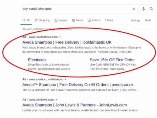 Google Search Results with Extensions
