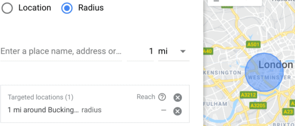 Defining a location radius on Google Ads